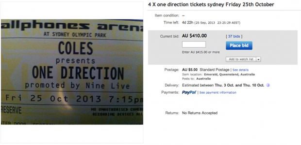 A screengrab of the auction