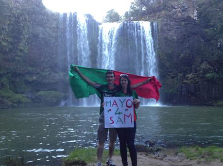Michelle McGinty from Achill and her boyfriend Tommy Walsh from Bonniconlon, taken in Whangarei Falls, New Zealand.