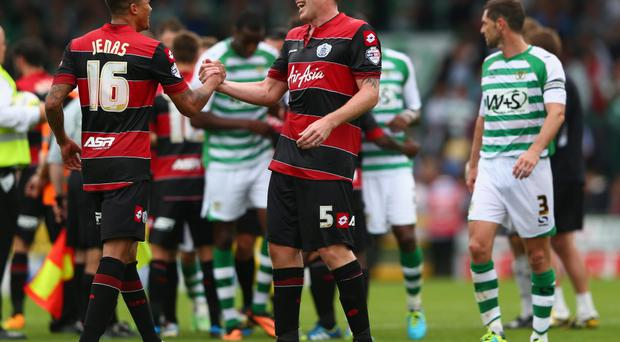 Richard Dunne (R) and Jermain Jenas (L) of Queens Park Rangers show their elation at the final whistle after their sides 1-0 victory during the Sky Bet Championship match against Yeovil Town