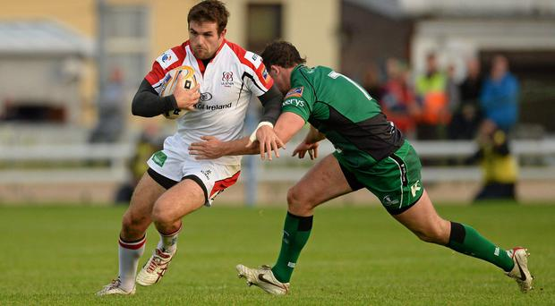 Jared Payne, Ulster, is tackled by Willie Faloon