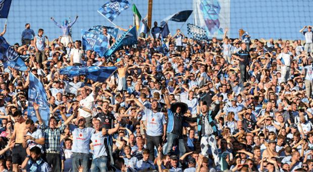 22 September 2013; A general view of Dublin supporters celebrating their sides victory on Hill 16 after the game during the GAA Football All-Ireland Championship Finals, Croke Park, Dublin. Picture credit: Barry Cregg / SPORTSFILE