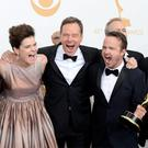 (L-R) Actors Dean Norris, Betsy Brandt, Bryan Cranston, Aaron Paul, Bob Odenkirk and Jonathan Banks, winners of the Best Drama Series Award for
