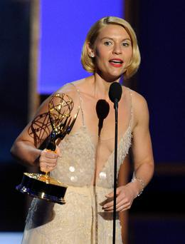 Claire Danes accepts her award onstage during the 65th Annual Primetime Emmy Awards