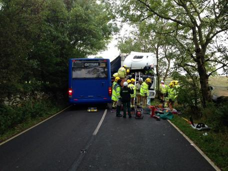 The scene of a crash, which happened just before 8.30am in Lowgill, Kendal, Cumbria