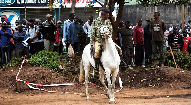 A soldier on horseback near the Westgate shopping centre in Nairobi
