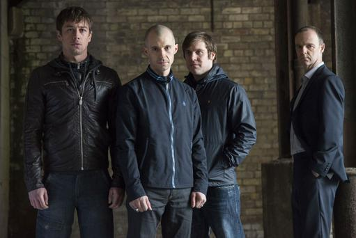 The boys are back: (From left) Tommy (Killian Scott) Nidge (Tom Vaughan-Lawlor) Fran (Peter Coonan) Mick Moynihan (Brian F O'Byrne)