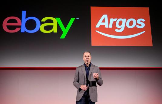 Devin Wenig, President of eBay announces the new Click and Collect pilot programme between Argos and eBay, in London