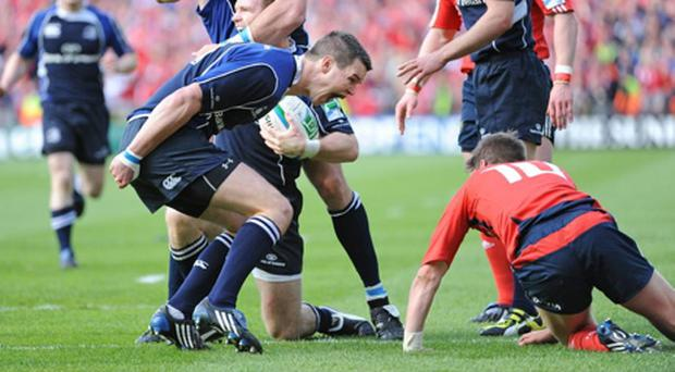 Munster v Leinster - Heineken Cup Semi-Final...2 May 2009; Leinster's Jonathan Sexton celebrates in front of Munster's Ronan O'Gara as Gordon D'Arcy is congratulated by team-mates Shane Horgan and Luke Fitzgerald after his try. Heineken Cup Semi-Final, Munster v Leinster, Croke Park, Dublin. Picture credit: Matt Browne / SPORTSFILE...ANI