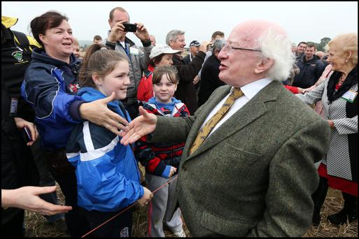 President Michael D Higgins meeting people at the National Ploughing Championships in Ratheniska Co Offaly yesterday. Pic: Steve Humphreys 24th September 2013.