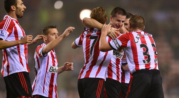 Sunderland's Valentin Roberge celebrates his goal tonight