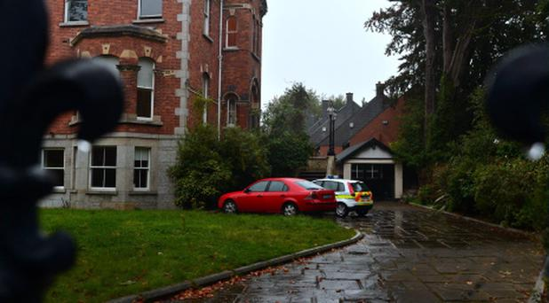 Gardai vehicles parked at Tom McFeely's former home