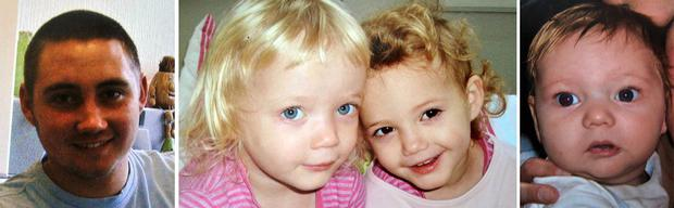 Reece Smith, 19, four-year-old twin girls Holly and Ella Smith and Jordan Smith, two.