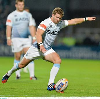 Leigh Halfpenny, Cardiff Blues, kicks a penalty tonight at the RDS