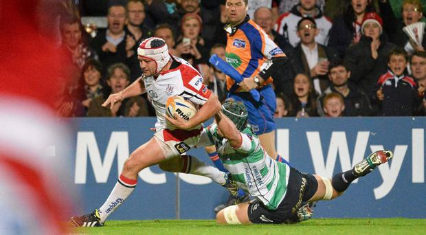 Rory Best, Ulster, goes over for his sides fourth try of the game despite the tackle of Dean Budd