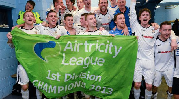 Athlone Town players celebrate after clinching the Airticity League First Division title