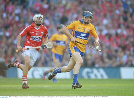 28 September 2013; David McInerney, Clare, in action against Luke O'Farrell, Cork. GAA Hurling All-Ireland Senior Championship Final Replay, Cork v Clare, Croke Park, Dublin. Picture credit: Brendan Moran / SPORTSFILE