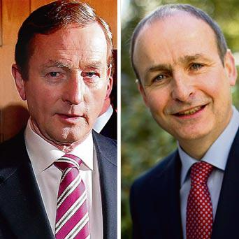 Taoiseach Enda Kenny and Fianna Fail leader Micheal Martin