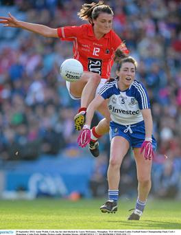 Annie Walsh, Cork, has her shot blocked by Laura McEnaney
