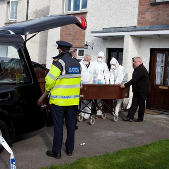 At the house of the murder scene of Emmet Connolly in Cootehill, Co. Cavan. Photo: Peter Houlihan