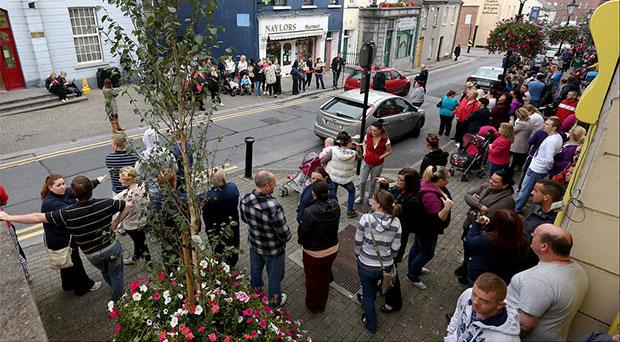 Protesters gathered near the Garda station in Athlone where a man is been held in custody