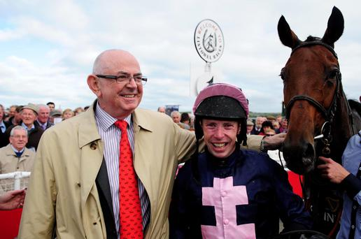 Owner Patsy Byrne with jockey Andrew Lynch after White Star Line won the Guinness Kerry National earlier this month