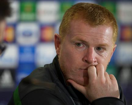 Celtic manager Neil Lennon during a press conference at Celtic Park, Glasgow today.