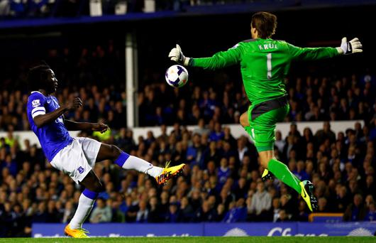 Everton's Romelu Lukaku goes around Newcastle United's Tim Krul (R) to score his second goal during their English Premier League soccer match at Goodison Park