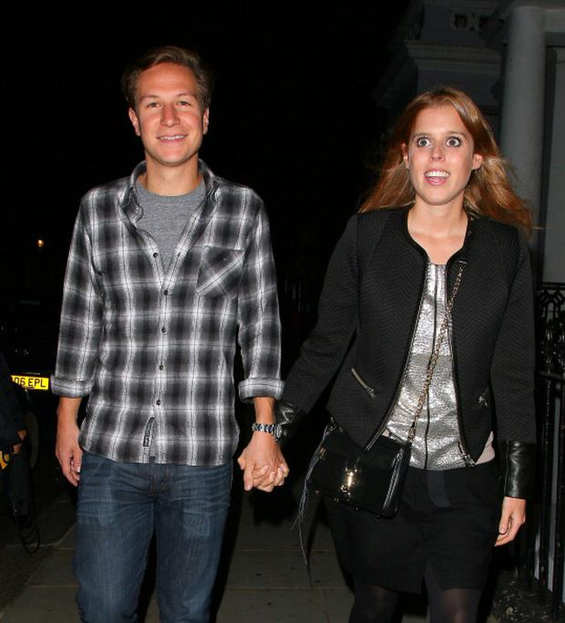 Dave Clark and Princess Beatrice leaving the Tabernacle after James Blunts performance on September 30, 2013 in London, England.