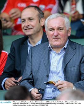 Former Taoiseach Bertie Ahern and Micheál Martin TD leader of Fianna Fáil, left, in attendance at the game. GAA Hurling All-Ireland Senior Championship Final Replay, Cork v Clare, Croke Park, Dublin. Picture credit: Stephen McCarthy / SPORTSFILE