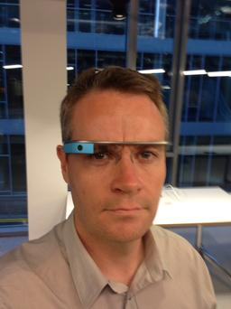 Ronan Price tries out Google Glass at Google's HQ in Dublin