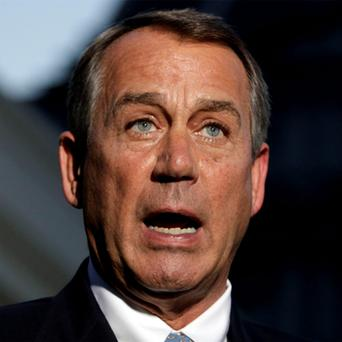 Republican Speaker of the House John Boehner speaks to the media