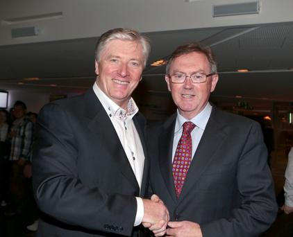 2/10/13 Pat Kenny and Sean O'Rourke at the opening night of Heartbeat of Home at the Bord Gais Theatre in Dublin. Picture:Arthur Carron/Collins