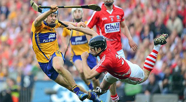 Clare's Shane O'Donnell in action against Cork's Shane O'Neill on the All-Ireland final