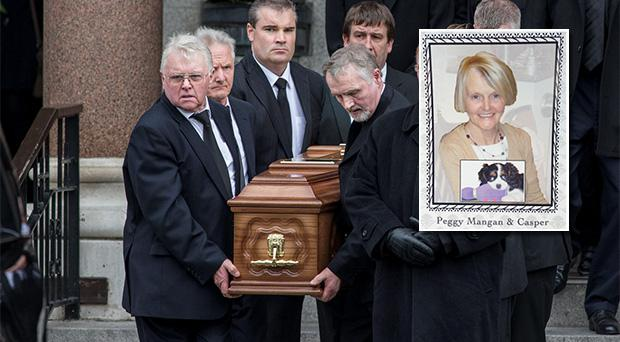 The remains of Alzheimers sufferer Peggy Mangan (inset with dog Casper) are carried from Mount Argus church, Dublin