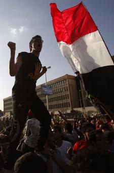 A supporter of the Muslim Brotherhood and ousted Egyptian President Mohamed Mursi shouts slogans
