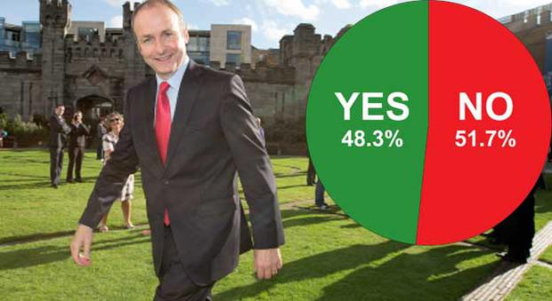 Micheal Martin looks pleased this evening at the result of the Seanad referendum (inset)