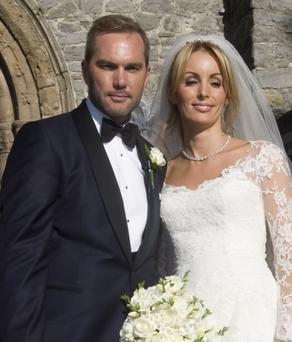 The happy couple Jason McAteer and Lucy Edwards leave St Mary's Cathedral, in Limerick today. Picture Liam Burke/Press 22