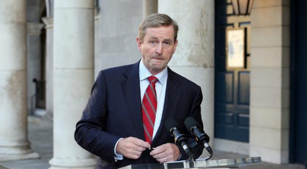 An Taoiseach Enda Kenny speaks to the media about the failure of the referendum to abolish the Seanad at Dublin Castle, yesterday. Photo: Tony Gavin 5/10/2013