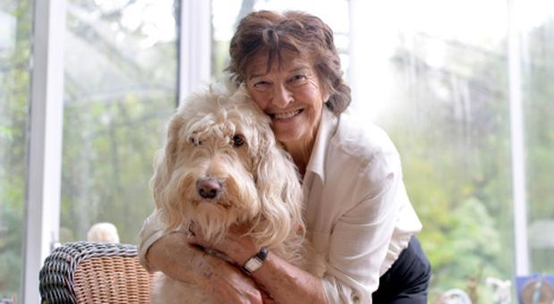 Maeve Kyle at her Ballymena home with her dog Connie
