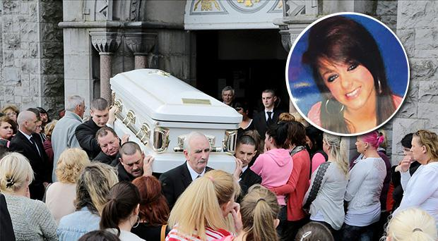 The coffin bearing the remains of fifteen year old Chloe Kinsella (inset) is carried from St Munchins, Church this Monday morning surrounded by her heart broken friends who weeped openly.