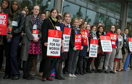 Junior Doctors during a one day strike outside the Mater Hospital in Dublin