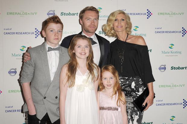 Ronan Keating, Yvonne Keating, Jack Keating, Melissa Keating and Ali Keating attends the Emeralds & Ivy Ball in aid of Cancer Research UK and the Marie Keating Foundation at Supernova on December 3, 2011 in London, England. (Photo by Ben Pruchnie/Getty Images)