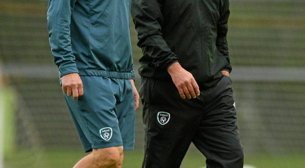 Republic of Ireland interim manager Noel King (left) with Ruud Dokter (right), High Performance Director, during squad training