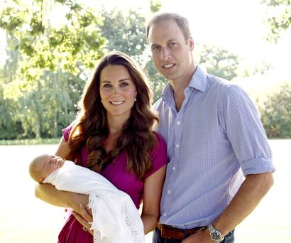 The new royal family's first and only family photograph, taken by Kate's father Michael.