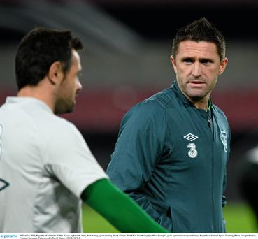 Robbie Keane with Andy Reid during squad training in Cologne ahead of their 2014 FIFA World Cup Qualifier, Group C, game against Germany