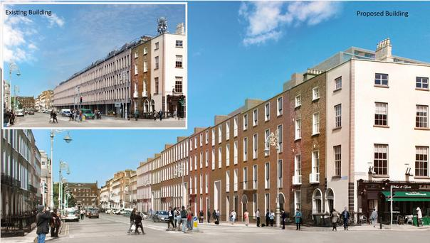 Undated handout image issued by ESB of the existing building (top left)and the proposed building for their new headquarters in Dublin's Georgian quarter which will be styled after the historic houses it bulldozed to make way for it