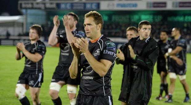 11 October 2013; Dan Parks, Connacht, applauds the supporters after defeat to Saracens. Heineken Cup 2013/14, Pool 3, Round 1, Connacht v Saracens, The Sportsground, Galway. Picture credit: Diarmuid Greene / SPORTSFILE