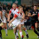 11 October 2013; Stuart Olding, Ulster, makes a break past Louis Deacon, Leicester Tigers. Heineken Cup 2013/14, Pool 5, Round 1, Ulster v Leicester Tigers, Ravenhill Park, Belfast, Co. Antrim. Picture credit: Oliver McVeigh / SPORTSFILE