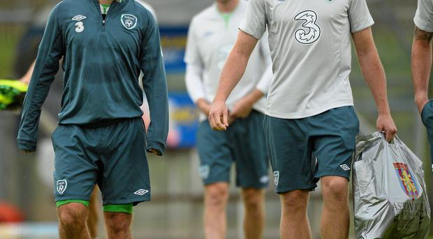 Republic of Ireland's Andy Reid, left, and Ciaran Clark during squad training ahead of their 2014 FIFA World Cup Qualifier, Group C, game against Germany on Friday