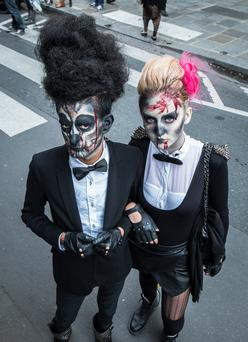 PARIS, FRANCE - OCTOBER 12: Attendees present their costumes during the annual Zombie Walk on October 12, 2013 in Paris, France. (Photo by David Wolff - Patrick/Getty Images)